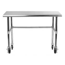 work table with open base and casters